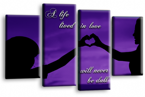 Life Quote Wall Art Print Purple Black Love Picture Split Panel